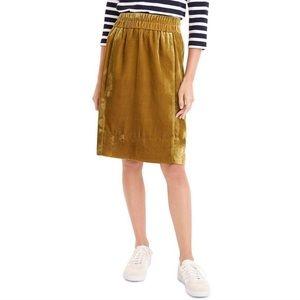 J. Crew Velvet Pull-On Skirt Small Mustard Yellow